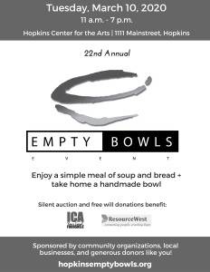 Empty bowls event March 10, 2020